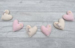 Mother's Day Bunting, felt heart garland, pink, blush, gold, gift, nursery, baby
