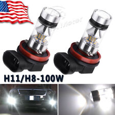 2x H11 H8 H16 100W 6000k Super White Fog Lights 2323 LED Driving Bulbs DRL US