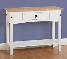 Seconique Corona White 1 Drawer Console Table with Solid Waxed Pine Top