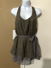 NWT $45 A'reve Anthropologie Sz Large Knit Tie Waist Gray Layered Tank Top