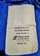 FIDELITY BANK & TRUST CO of NJ Pennsauken: Vintage Canvas Coin Cash Deposit Bag