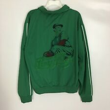 Men's Vintage Style Green Pepsi Cola Track Jacket Baseball Player Size Medium