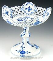 """Antique Meissen BLUE ONION 9"""" PIERCED PEDESTAL COMPOTE DISH Crossed Swords Mint"""
