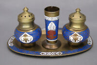 Vintage Brass Cloisonne Salt and Pepper Shakers with Toothpick Holder and Tray
