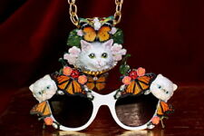 Baroque Adorable Cats Butterfly   Embellished Sunglasses