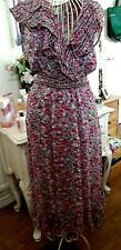 Monsoon Ditsy Floral Frilled Midi Dress Size 14