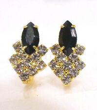 Women Girl Stud Earrings 14K Yellow Gold Plated Black Clear CZ Cubic Zirconia UK
