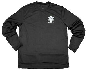 EMT Performance Long Sleeve t Shirts with Reflective Decoration, front & back