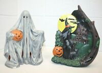 "Vintage Lot of 2 Ceramic Mold Halloween Lights 9"" Ghost w/ Pumpkin Witch w/ Moon"