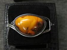 Bernstein Armreif art deco real amber egg yolk butterscotch 800 silver bangle