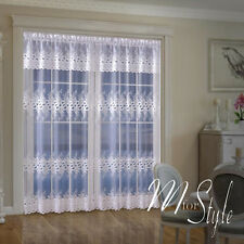 Long Net Curtain SINGLE Panel Slot Top White Ready Made Panel Window Patio Door