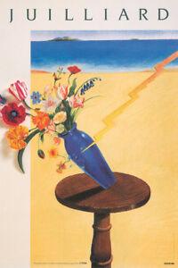 Original Vintage Affiche Juilliard Floral École Music Milton Glaser Nyc Moderne