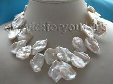 "17"" Genuine Natural 21x32mm white Reborn Keshi Petal Pearl Necklace 14k #f1334!"