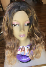 Long Brown W/Blonde Synthetic Hair Part No Lace Wig Natural Wavy Heat Resistant