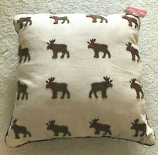 St. Nicholas Sq. Holiday Reversible Toss Pillow Embro Moose / Plaid Pattern 18""