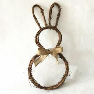 DIY Rattan Bunny Rabbit Wreath Garland Door Window Wall Hanging Easter Ornament
