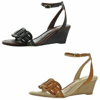 Tommy Bahama Women's Florance Row Leather Ankle Wrap Wedge Sandals Shoes