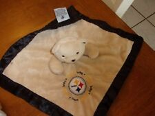 "baby fanatic Satin Blanket tan black steelers logo dog 12"" Lovey football"