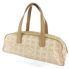 CHANEL handbag New Travel line beige canvas �~ leather Auth used T16623