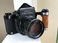 【N MINT+3 Grip】 Pentax 6x7 TTL Mirror Up SMC Takumar 105mm F2.8 Lens from JAPAN