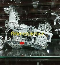 Silver Horse And Carriage Bling Ornament Shelf Sitter Shiny Chrome Glitter...