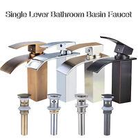 Single Lever Bathroom Basin Faucet Waterfall Vessel 1Hole Countertop Tap W/Drain