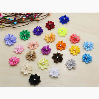 10/50pcs U pick Mini satin ribbon flowers bows with Appliques Craft DIY Wedding