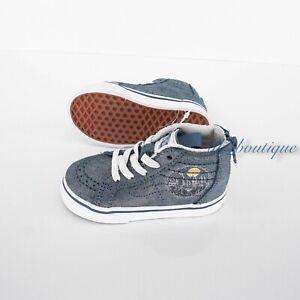 New Vans x Harry Potter Hogwarts Sk8-Hi Zip Toddler Shoes Suede Metallic Blue 8