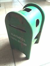 Vintage Collectible Wooden Playskool Postal Box Green Mailbox Toy Station
