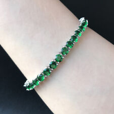 5mm Round Green Emerald Cubic Zirconia CZ White Gold Plated Tennis Bracelet 7.5""