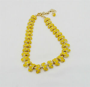 New J.Crew Resin & Crystal Wrap Shiny Gold Tone Choker Statement Necklace