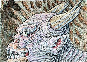 ACEO  Fantasy Original Split Bull Demon