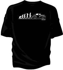 'Evolution of Man' classic car t-shirt.  Morris Minor Convertible Tourer