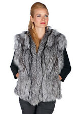 Genuine Real Silver Fox Fur Vest for Women (Natural Fox)