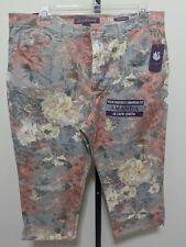 Gloria Vanderbilt Amanda Heritage Denim Capri Jeans Floral Stretch Gray Plus 18
