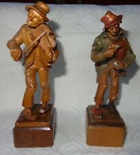 DEALER-RITA  Antique 2 carved wood figurines ANRI band music Italian hand carved