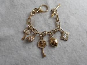 Juicy Couture gold toggle chain 5 charm bracelet -  key, enamel key heart ++