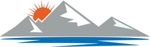 CARAVAN / MOTORHOME | Back Rear Sticker/Decal | Mountain Range,Sun, Sea | BB163
