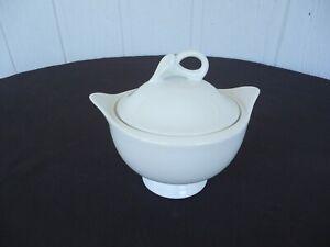 mikasa  white classic flair lidded sugar bowl