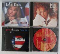 (4) Count Lot of Country Music CDs - Reba Garth Brooks Leann Rimes Joe Diffie