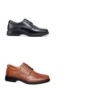 Mens Hush Puppies Rochester Leather Black Cognac Laces Classic Dress Work Shoes