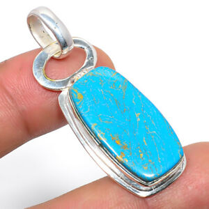 """Copper Blue Turquoise 925 Sterling Silver Pendant Handmade Jewelry 1.8"""" M1456"""