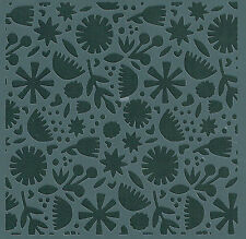 CONTEMPORARY FLOWER & LEAF BACKGROUND FLEXIBLE MYLAR RE USEABLE STENCIL - 6 x 6