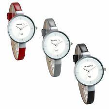 Women's Charm Simple Slim Strap Round Rhinestone Dial Quartz Analog Wrist Watch
