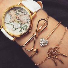 3 Pcs/Set  Womens Heart Tie Bow Open Bangle Crystal Gold Bracelets Jewelry