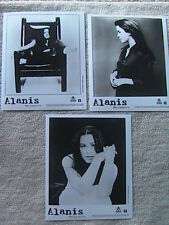"Alanis Morissette Lot Of (3) Press Kit Glossie Photo'S 8"" X 10"" Black & White"