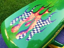 Torched Checkered Flag 3pc Flame decals John Deere Craftsman Lawn mower racing
