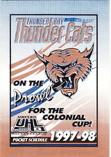 1997-98 Thunder Bay Thunder Cats Hockey Pocket Schedule