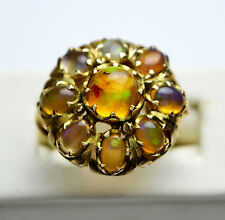 Vintage Opal 14K Yellow Gold Dome / Cocktail / Cluster Ring - Sz 7.5 - Stunning!