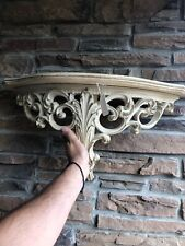 Vintage Hollywood Regency Half Moon Solid Wood Wall Table Curio Shelf